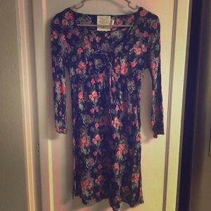 Tops - LOGG H&M Floral Pattern Black Long Sleeve Blouse 6